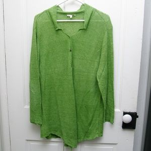Eileen Fischer green cardigan flowy and light 2x